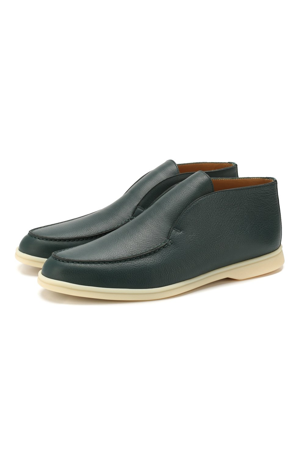 Мужские кожаные ботинки open walk LORO PIANA зеленого цвета, арт. FAL0319   Фото 1