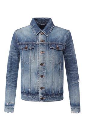 Мужская джинсовая куртка SAINT LAURENT синего цвета, арт. 602709/YG750 | Фото 1