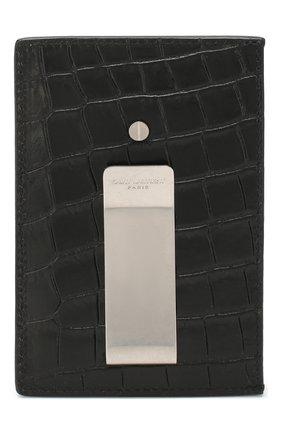 Мужской кожаный футляр для кредитных карт SAINT LAURENT черного цвета, арт. 584105/DZE0E | Фото 2