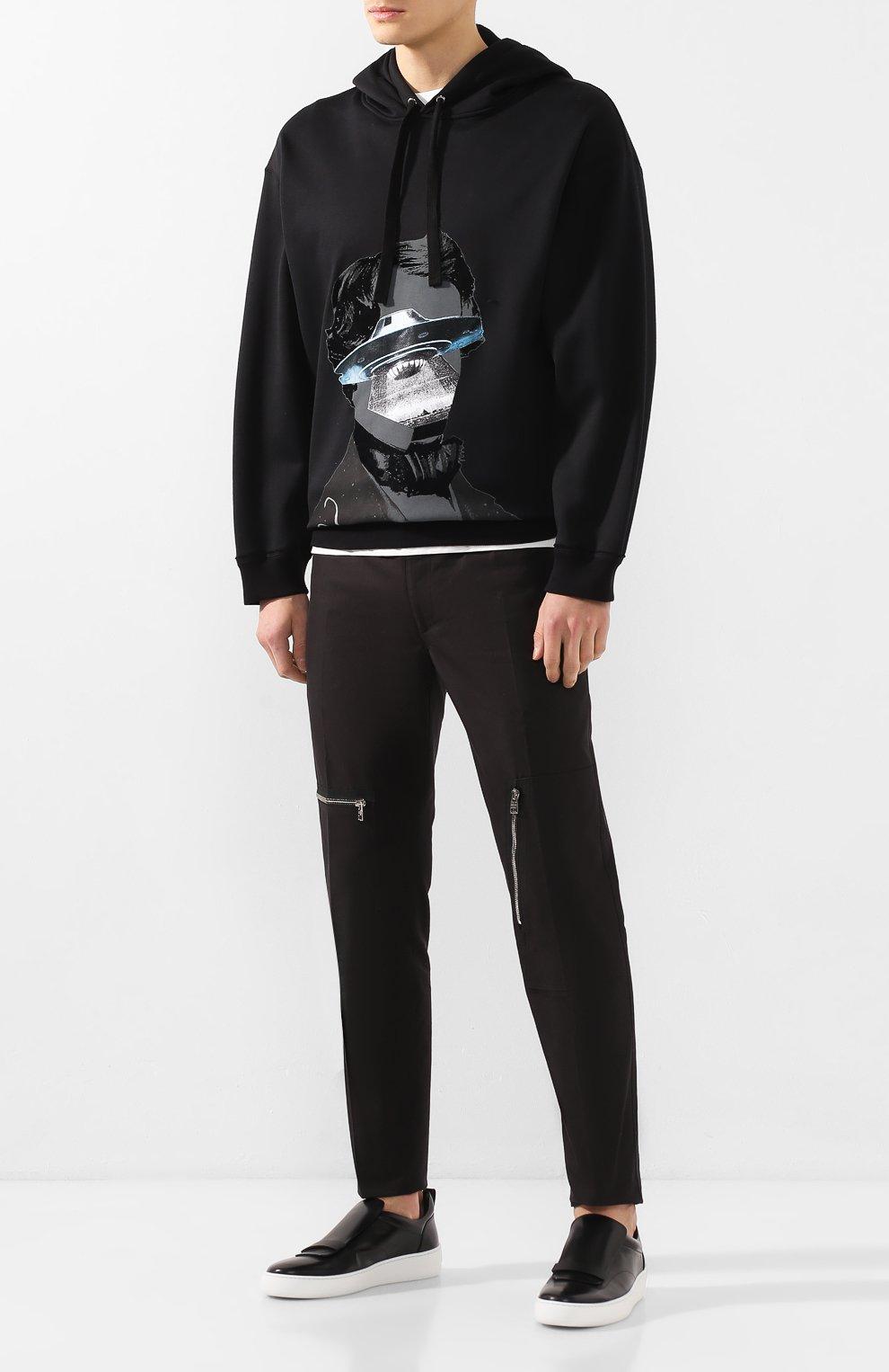 Мужские кожаные слипоны SERGIO ROSSI черного цвета, арт. A86980-MMV117 | Фото 2