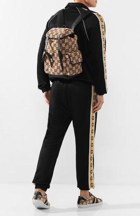 Мужской текстильный рюкзак GUCCI бежевого цвета, арт. 598184/G38GT | Фото 2