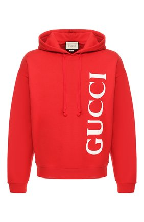 Мужской хлопковое худи GUCCI красного цвета, арт. 604974/XJB1C | Фото 1