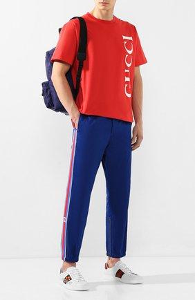 Мужской хлопковые брюки GUCCI синего цвета, арт. 604187/XDA1R | Фото 2