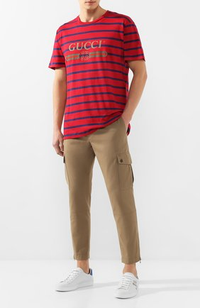 Мужская футболка из смеси льна и хлопка GUCCI красного цвета, арт. 604177/XJB6W | Фото 2