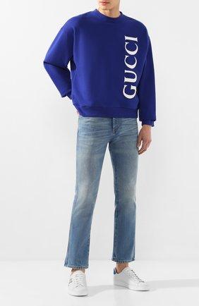 Мужской хлопковый свитшот GUCCI темно-синего цвета, арт. 599345/XJB1C | Фото 2