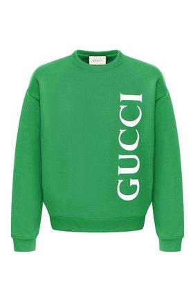 Мужской хлопковый свитшот GUCCI зеленого цвета, арт. 599345/XJB1C | Фото 1