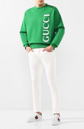 Мужской хлопковый свитшот GUCCI зеленого цвета, арт. 599345/XJB1C | Фото 2