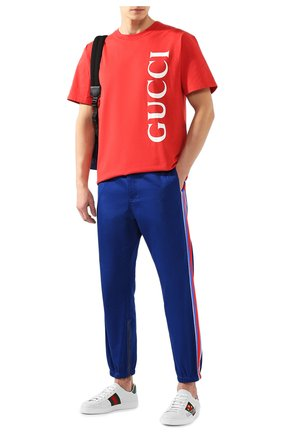 Мужская хлопковая футболка GUCCI красного цвета, арт. 565806/XJB2V | Фото 2