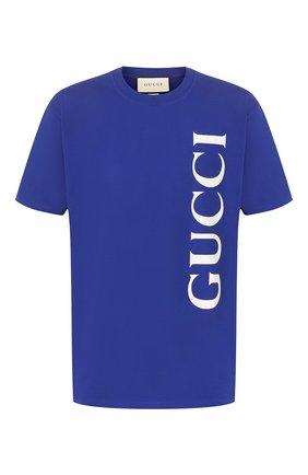 Мужская хлопковая футболка GUCCI темно-синего цвета, арт. 565806/XJB2V | Фото 1