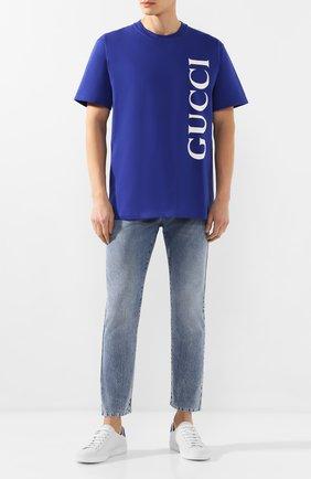 Мужская хлопковая футболка GUCCI темно-синего цвета, арт. 565806/XJB2V | Фото 2