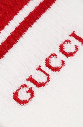 Мужские хлопковые носки GUCCI белого цвета, арт. 496493/4G293 | Фото 2