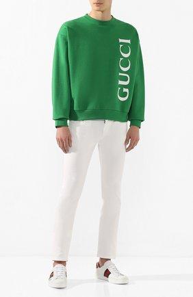 Мужские кожаные кеды ace GUCCI белого цвета, арт. 603693/0FI10 | Фото 2