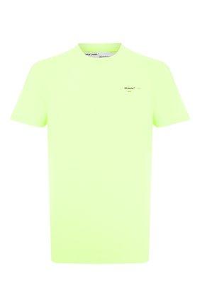 Мужская хлопковая футболка OFF-WHITE светло-зеленого цвета, арт. 0MAA027R201850176210 | Фото 1