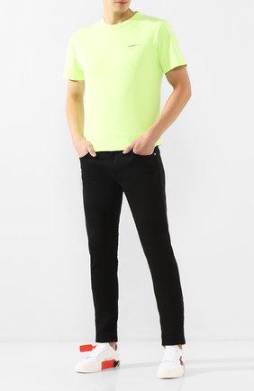 Мужская хлопковая футболка OFF-WHITE светло-зеленого цвета, арт. 0MAA027R201850176210 | Фото 2