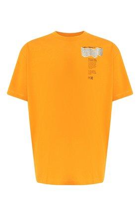Мужская хлопковая футболка OFF-WHITE оранжевого цвета, арт. 0MAA038R201850071988   Фото 1