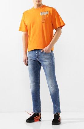 Мужская хлопковая футболка OFF-WHITE оранжевого цвета, арт. 0MAA038R201850071988   Фото 2