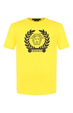 Мужская хлопковая футболка VERSACE желтого цвета, арт. A85156/A228806 | Фото 1