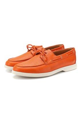 Мужские кожаные топсайдеры ALDO BRUE оранжевого цвета, арт. AB5352J-CM   Фото 1