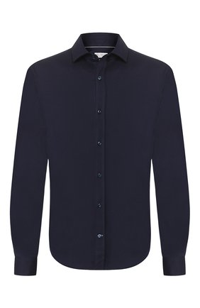 Мужская хлопковая рубашка BRUNELLO CUCINELLI темно-синего цвета, арт. M0T656699 | Фото 1
