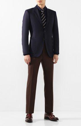 Мужская хлопковая рубашка BRUNELLO CUCINELLI темно-синего цвета, арт. M0T656699 | Фото 2