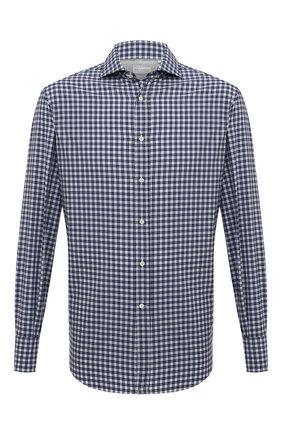 Мужская хлопковая сорочка BRUNELLO CUCINELLI синего цвета, арт. MG6960028 | Фото 1