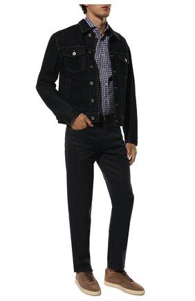 Мужская хлопковая сорочка BRUNELLO CUCINELLI синего цвета, арт. MG6960028 | Фото 2