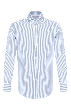 Мужская хлопковая сорочка BRUNELLO CUCINELLI синего цвета, арт. MW6020028 | Фото 1
