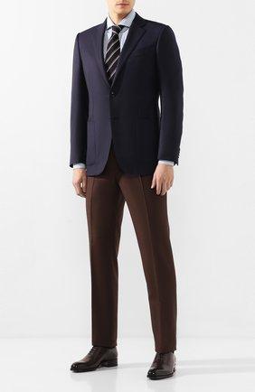 Мужская хлопковая сорочка BRUNELLO CUCINELLI синего цвета, арт. MW6020028 | Фото 2