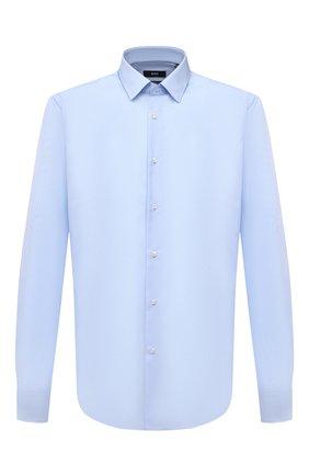 Мужская хлопковая сорочка BOSS голубого цвета, арт. 50413751 | Фото 1