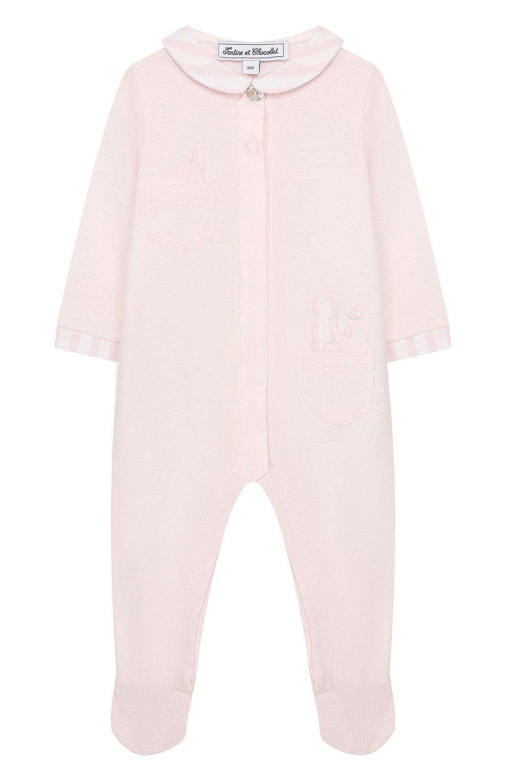 Детский хлопковый комбинезон TARTINE ET CHOCOLAT светло-розового цвета, арт. TP54151/1M-1A   Фото 1