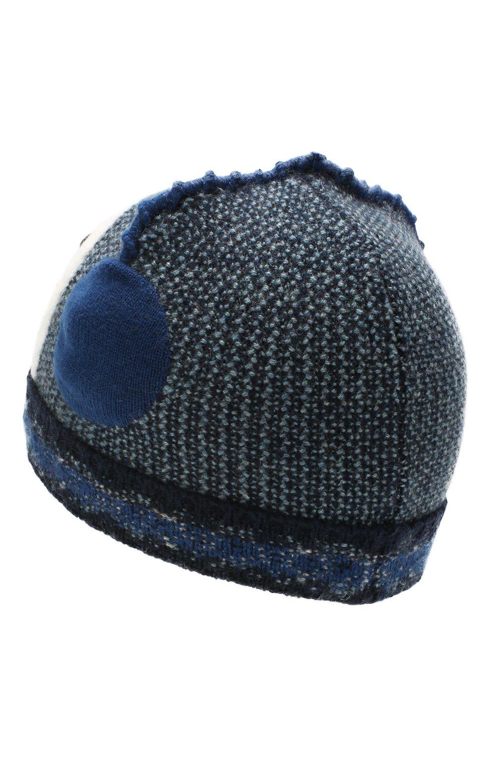 Детского кашемировая шапка LORO PIANA синего цвета, арт. FAI8428 | Фото 2 (Материал: Кашемир, Шерсть)
