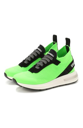 Детские текстильные кроссовки DSQUARED2 зеленого цвета, арт. 63518/28-35 | Фото 1