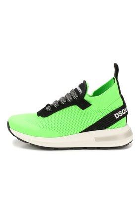 Детские текстильные кроссовки DSQUARED2 зеленого цвета, арт. 63518/28-35 | Фото 2