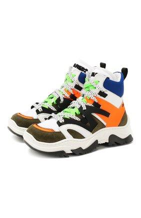 Детские высокие кроссовки из кожи DSQUARED2 разноцветного цвета, арт. 62437/28-35 | Фото 1