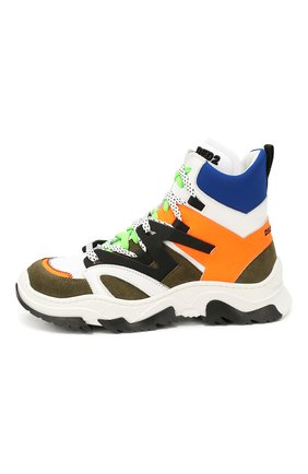 Детские высокие кроссовки из кожи DSQUARED2 разноцветного цвета, арт. 62437/28-35 | Фото 2