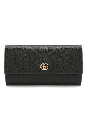 Женские кожаный кошелек gg marmont GUCCI черного цвета, арт. 456116/CA00G | Фото 1