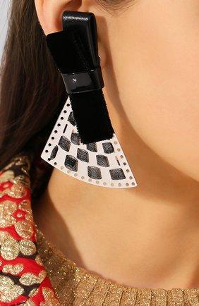 Женские клипсы GIORGIO ARMANI черного цвета, арт. 61T626/9A666 | Фото 2 (Материал: Металл; Женское Кросс-КТ: Клипсы-серьги)