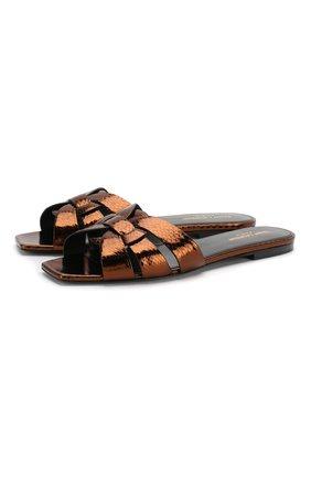 Женские кожаные шлепанцы nu pieds SAINT LAURENT бронзового цвета, арт. 565588/EXV00 | Фото 1