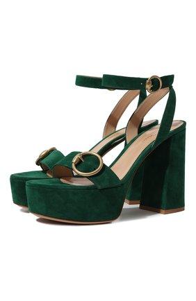 Женские замшевые босоножки zandra GIANVITO ROSSI зеленого цвета, арт. G31527.70RIC.CAMLEAF | Фото 1