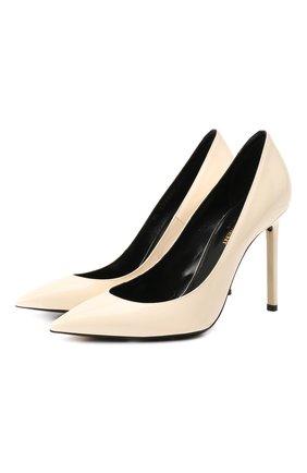 Женская кожаные туфли zoe SAINT LAURENT кремвого цвета, арт. 582301/0NP00 | Фото 1