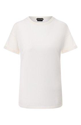 Женская футболка из кашемира и шелка TOM FORD белого цвета, арт. MAK949-YAX087 | Фото 1 (Рукава: Короткие; Материал внешний: Кашемир, Шерсть, Шелк; Женское Кросс-КТ: Футболка-одежда; Длина (для топов): Стандартные; Стили: Кэжуэл, Минимализм; Принт: Без принта)