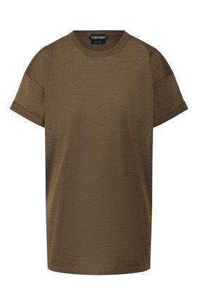 Женская футболка из кашемира и шелка TOM FORD хаки цвета, арт. MAK949-YAX087 | Фото 1