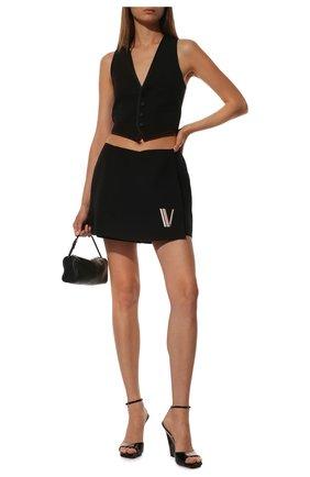 Женские шорты из смеси шерсти и шелка VALENTINO черного цвета, арт. TB3RA5P51CF | Фото 2