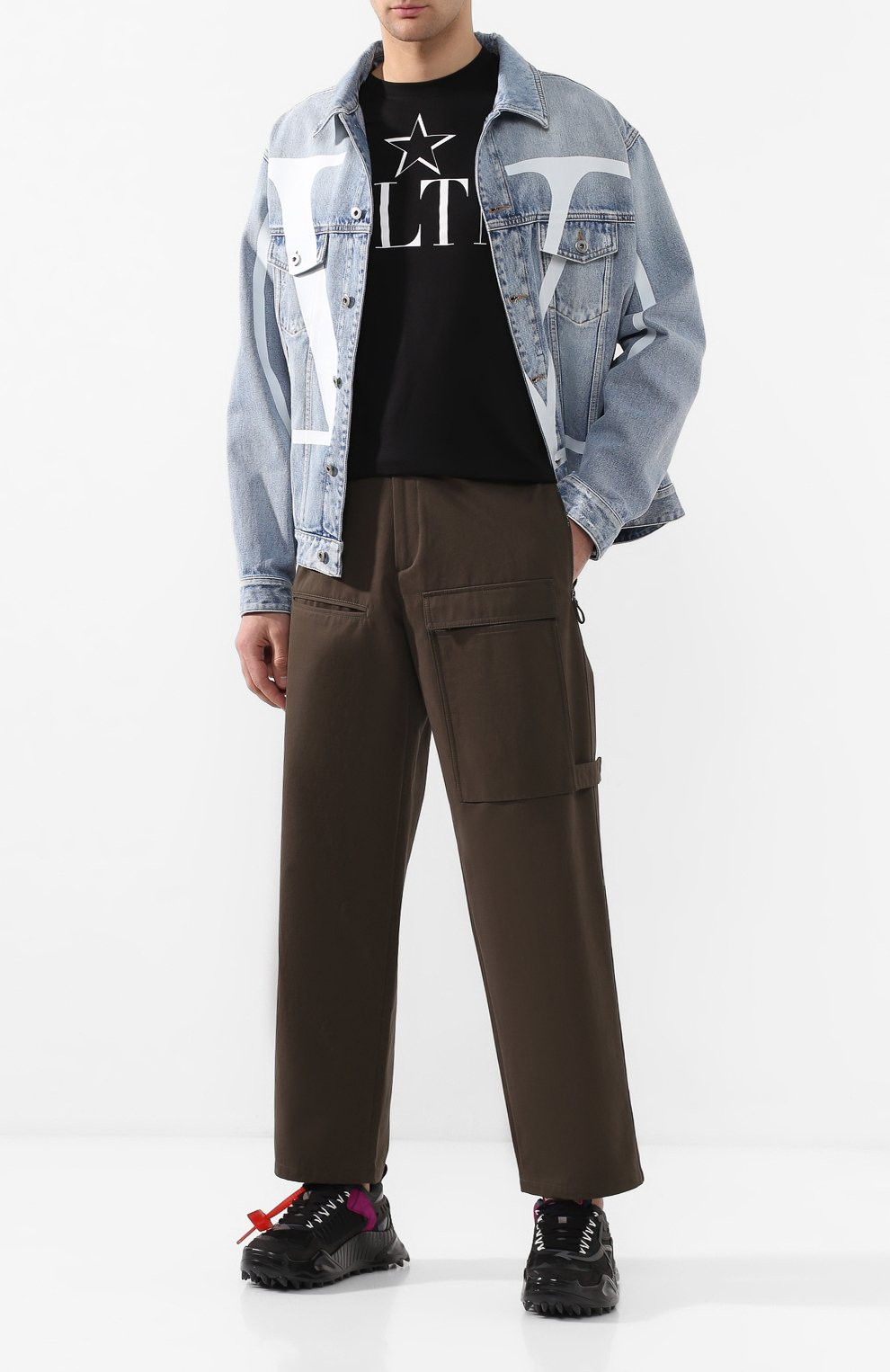 Мужские хлопковые брюки VALENTINO хаки цвета, арт. TV3REA755TU | Фото 2
