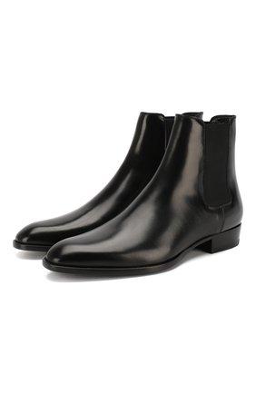 Мужские кожаные челси wyatt SAINT LAURENT черного цвета, арт. 443208/AQS00 | Фото 1
