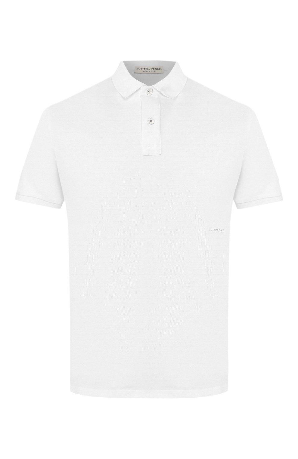 Мужское хлопковое поло BOTTEGA VENETA белого цвета, арт. 599677/VK090   Фото 1 (Застежка: Пуговицы; Рукава: Короткие; Длина (для топов): Стандартные; Материал внешний: Хлопок)