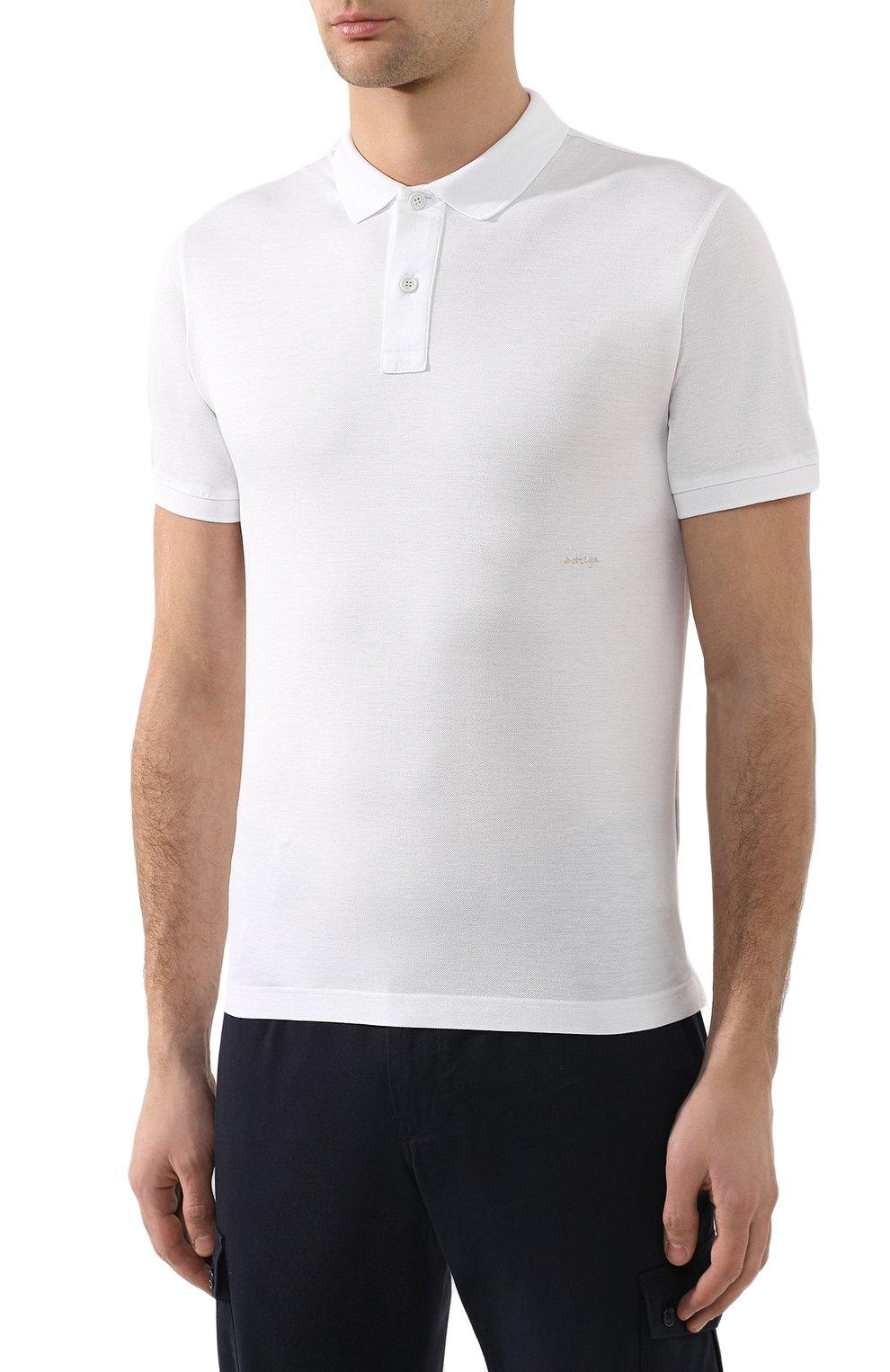 Мужское хлопковое поло BOTTEGA VENETA белого цвета, арт. 599677/VK090   Фото 3 (Застежка: Пуговицы; Рукава: Короткие; Длина (для топов): Стандартные; Материал внешний: Хлопок)