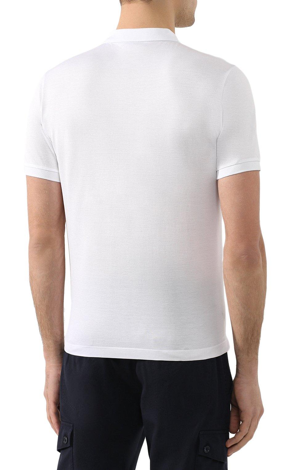 Мужское хлопковое поло BOTTEGA VENETA белого цвета, арт. 599677/VK090   Фото 4 (Застежка: Пуговицы; Рукава: Короткие; Длина (для топов): Стандартные; Материал внешний: Хлопок)