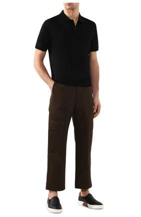 Мужское хлопковое поло BOTTEGA VENETA черного цвета, арт. 599677/VK090 | Фото 2