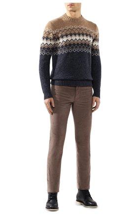 Мужской брюки из смеси хлопка и кашемира LORO PIANA светло-коричневого цвета, арт. FAI6011 | Фото 2